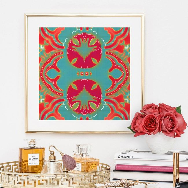 Morris is a coral red, magenta and turquoise art print reminiscent of William Morris' Arts and Crafts designs. Here, Morris is seen framed in gold and hung in a luxurious bedroom.