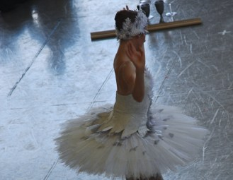 Ashley Ellis warming up as the white swan, Odette.