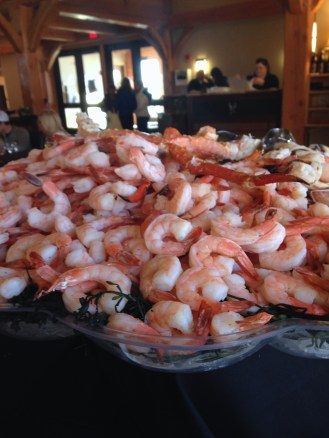 A mountain of shrimp and shellfish at lunch in the clubhouse at The Hermitage Club.