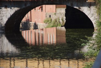 A look under the bridge in Pawtucket.