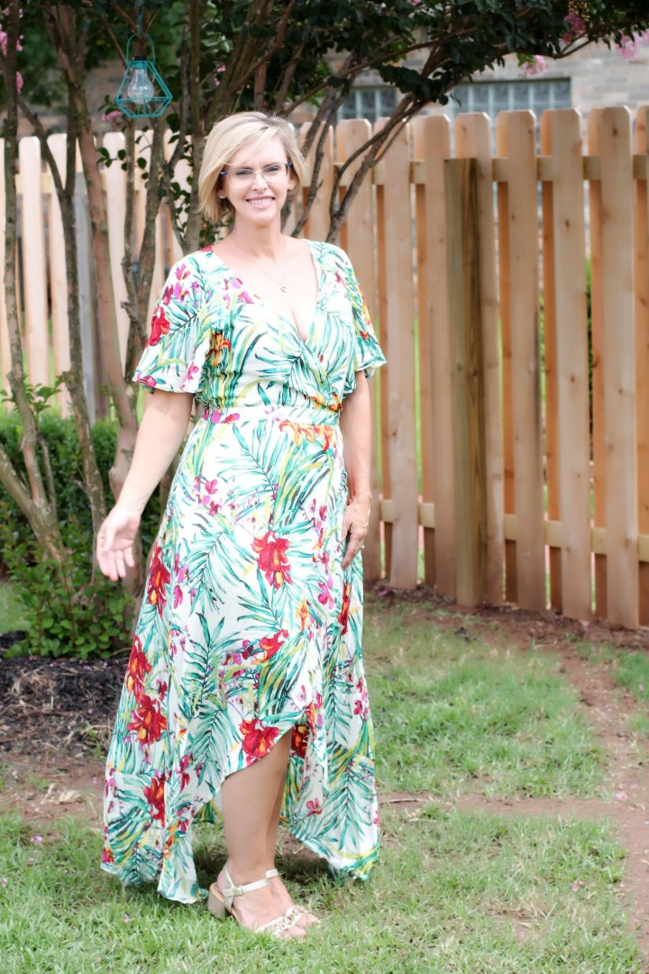 Olive & J Paprika Faux Wrap Maxi Dress