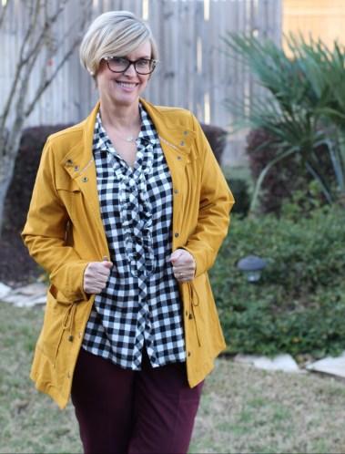 Stitch Fix Eden Society Antsla Jacket and Mello Day Selia Ruffle Detail Cotton Top