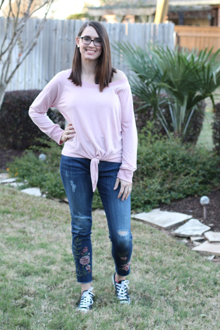 Stitch Fix Nine Britton Tanesha distressed Neckline Tie Front Knit Top and Driftwood Rosalee Floral Embroidered Distressed Frayed Hem Skinny Jean