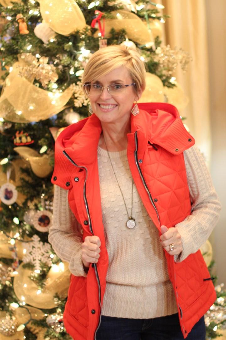 Puffer Vest, Red Vest, December Stitch Fix