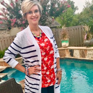 Old Navy Strip sweater and floral tank