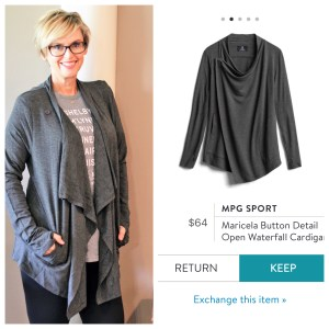 MPG Sport Maricela Button Detail Open Waterfall Cardigan