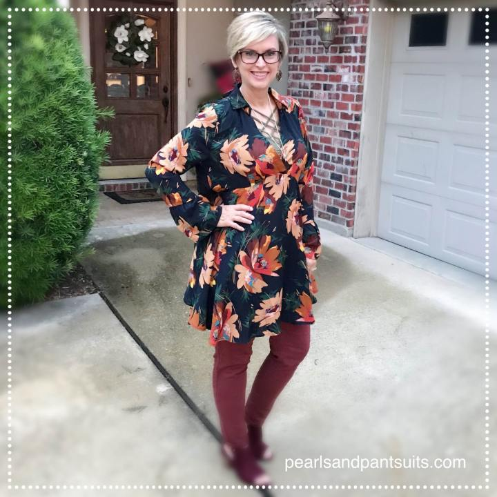 Fall Floral Tunic Top