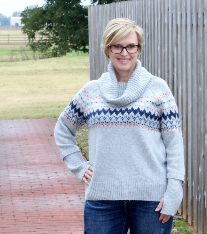 Market & Spruce Sirra Fairisle Cowl Neck Cotton Blend Pullover