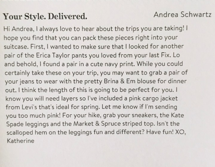 Note from Stitch Fix Stylist