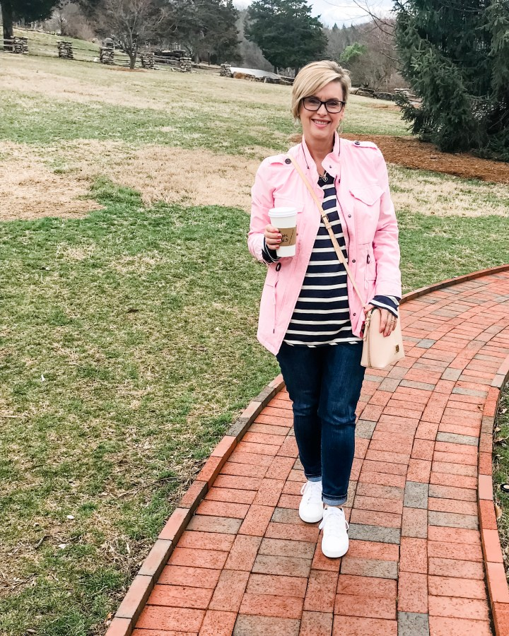 Pink jacket and blue tunic