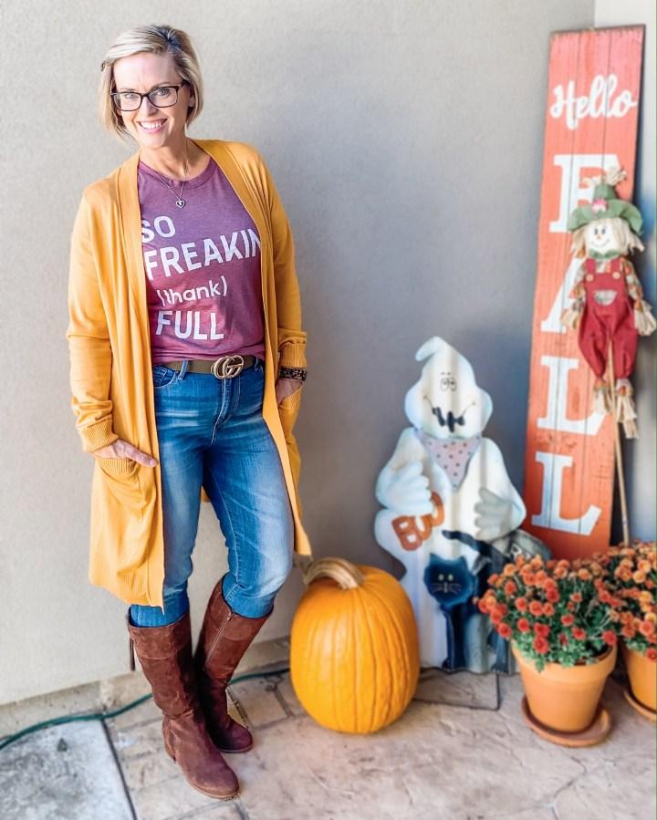 Mustard cardigan and thankful graphic tee