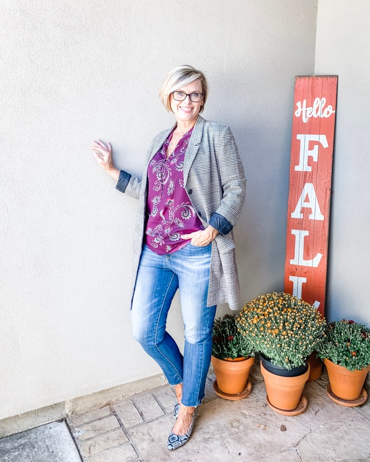 Plaid Jacket styled with floral top and jeans