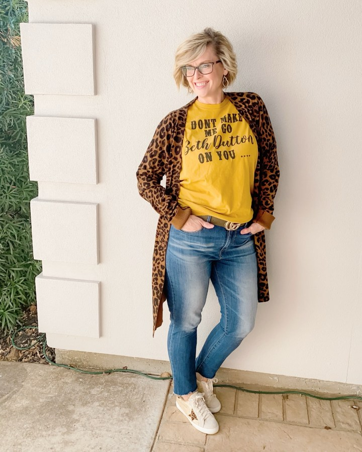 Leopard print cardigan with jeans and graphic tee