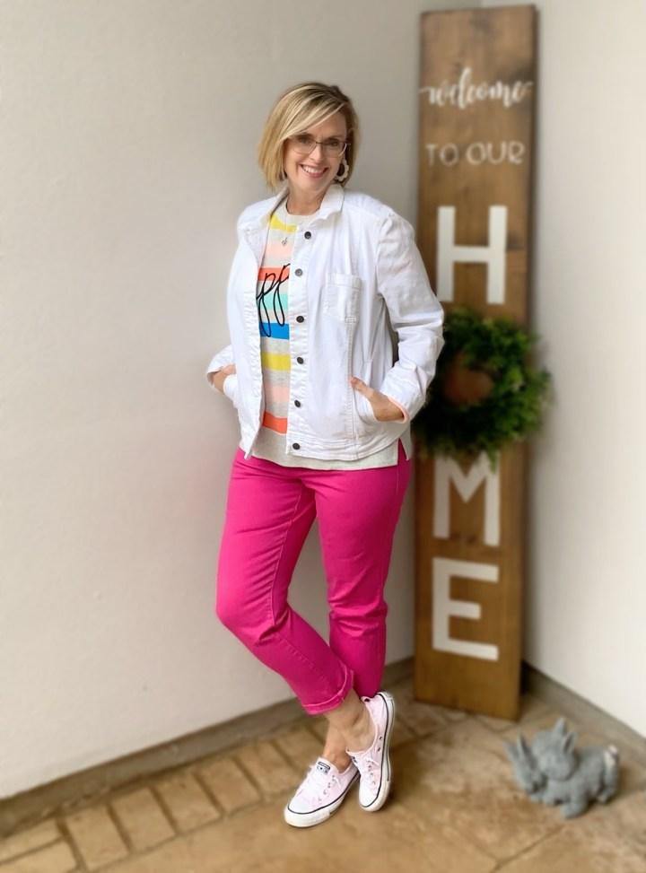 Bright pink denim & White jacket
