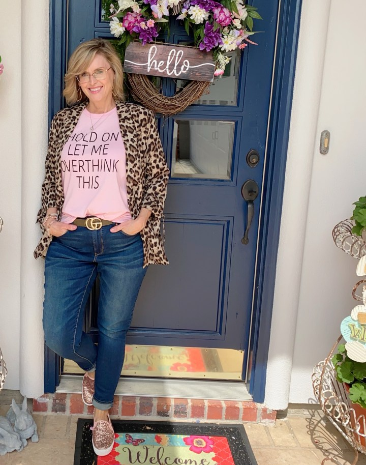 leopard blazer styled with graphic tee