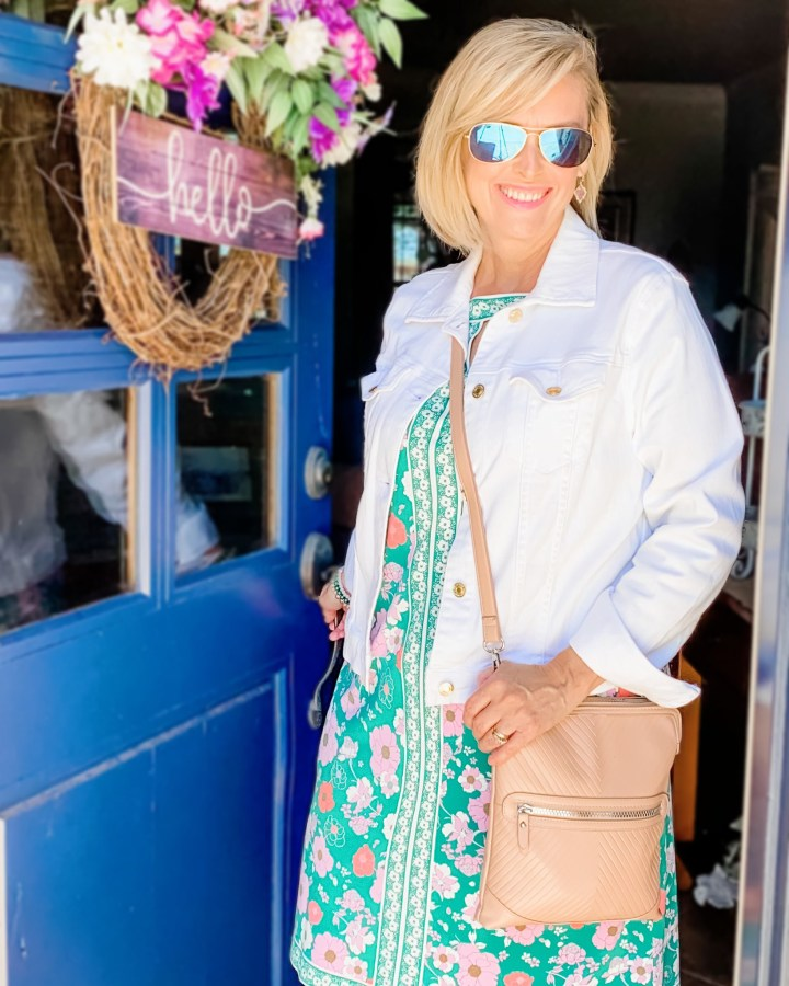 White Denim Jacket & Stitch Fix Dress