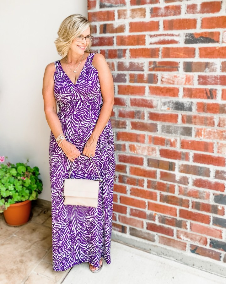 Market & Spruce Purple Hellena Faux Wrap Knit Maxi Dress