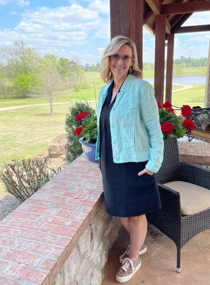 Styling a linen jacket with a dress