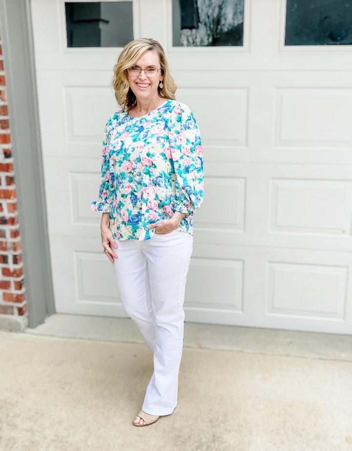 Floral Blouse | White Jeans