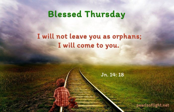 I will not leave you as orphans; I will come to you.