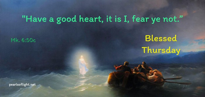 Have a good heart, it is I, fear ye not.