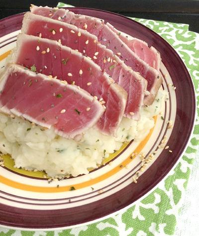Sesame Seared Tuna and Wasabi Mashed Potatoes