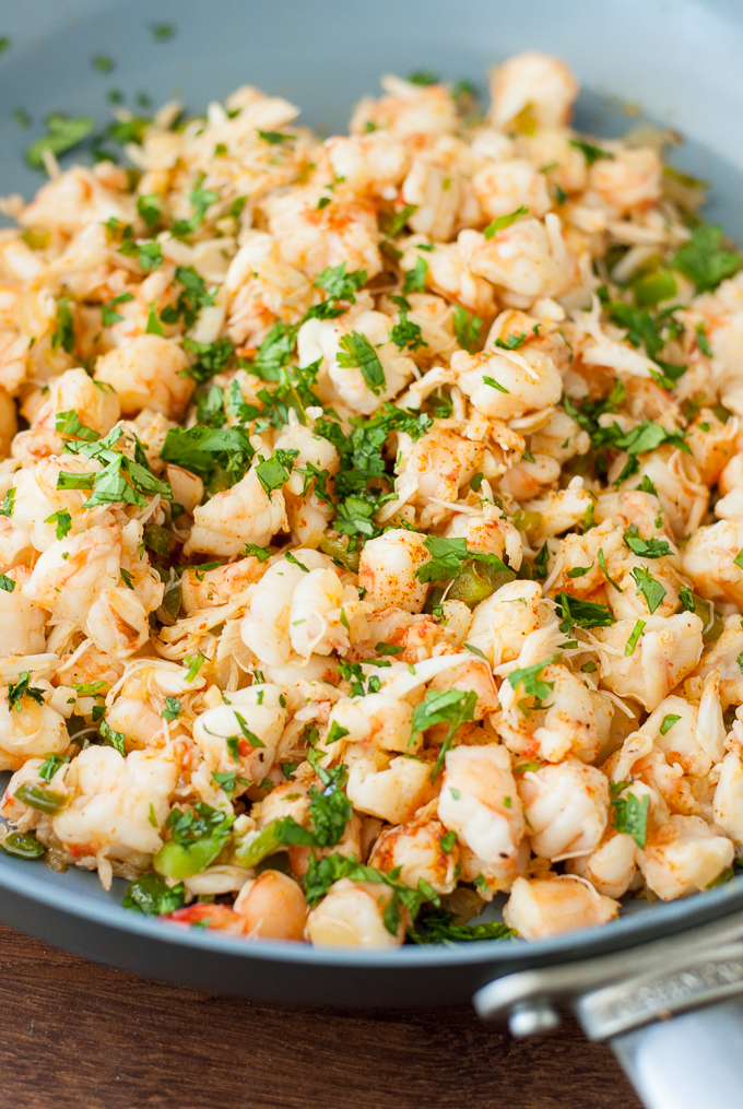 Zucchini Enchiladas with Crab and Shrimp