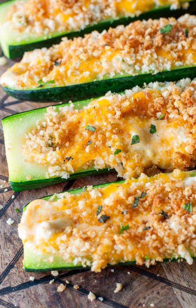 Cheesy Jalapeño Popper Stuffed Zucchini Boats Recipe
