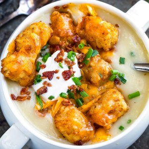 Loaded Potato Soup with Cheesy Tots