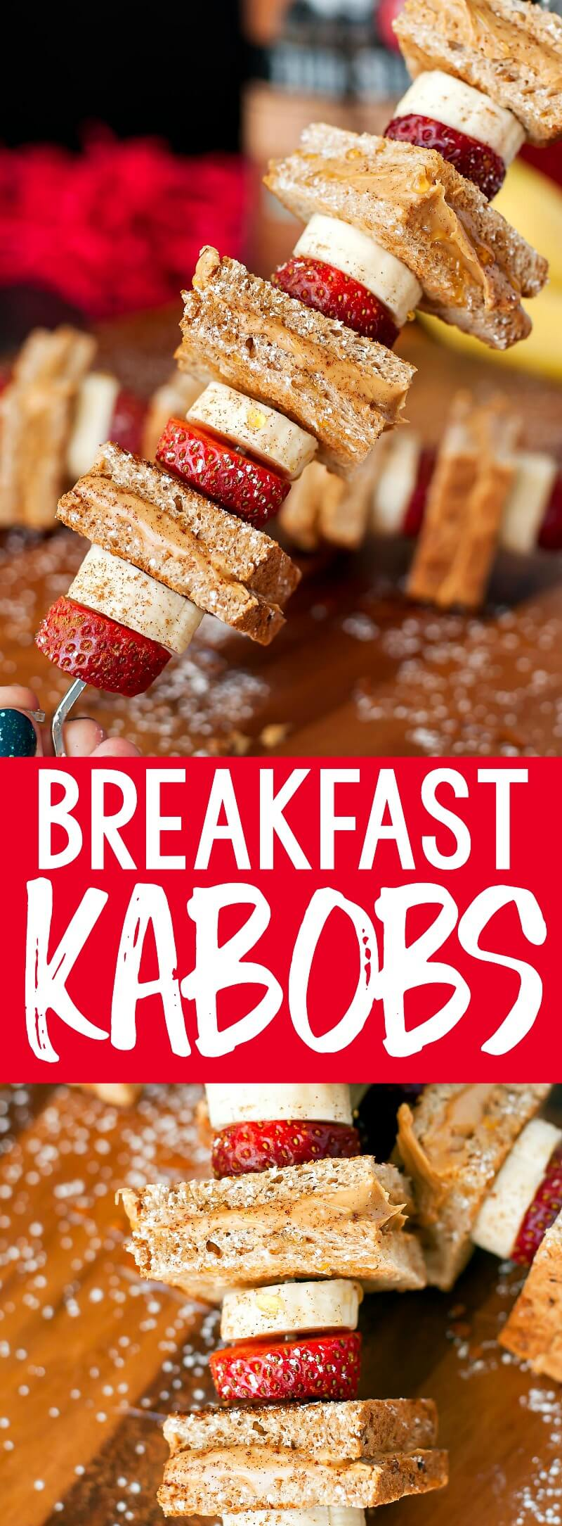 Whip up these Strawberry Banana Peanut Butter Toast on a Stick fora fun back to school breakfast! These sweet and savory breakfast kabobs are sure to be a hit! #kabobs #toast #breakfast #peanutbutter #banana #strawberry #kidfriendly #breakfast #snack