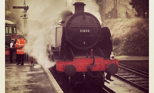Arriving in clouds of steam. #steam #watercressline #locomotive