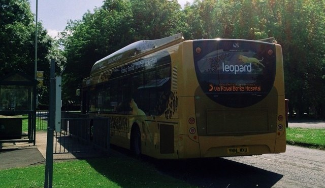 The new Reading Buses Leopard waiting at Arborfield