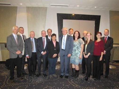 The IPS Executive Board and the staff of the IPS Secretariat in Tallinn, October 2013: Lech Szajdak, Valerijs Kozlovs, Jack Rieley, Donal Clarke, Guus van Berckel, Lulie Melling, Björn Hånell, Erki Niitlaan, Susann Warnecke, Paul Short, Sandra Lubinaite, Ines Böttcher and Samu Valpola (left to right). Photo: Henna Honkala