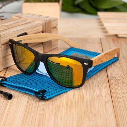 Ochelari de soare bambus lentila portocalie