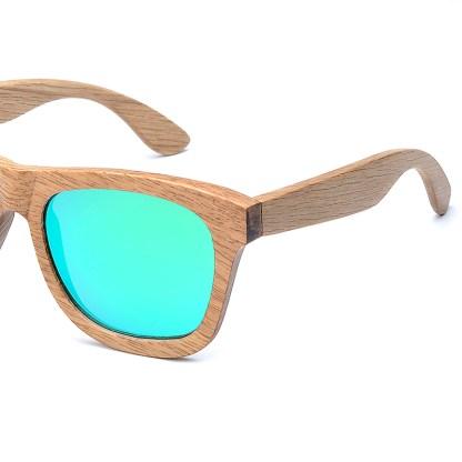Ochelari de soare din lemn lentila verde