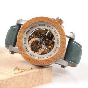 Ceas din lemn Bobo Bird mecanic albastru-verde