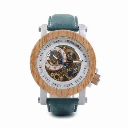 Ceas din lemn Bobo Bird mecanic, albastru-verde