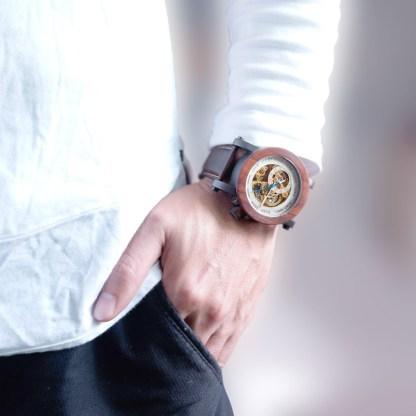 Ceas din lemn Bobo Bird mecanic, piele maro