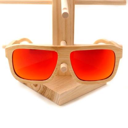 Ochelari de soare din lemn Bobo Bird cu lentila portocalie