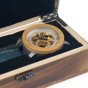 cutie Ceas din lemn Bobo Bird mecanic, albastru-verde