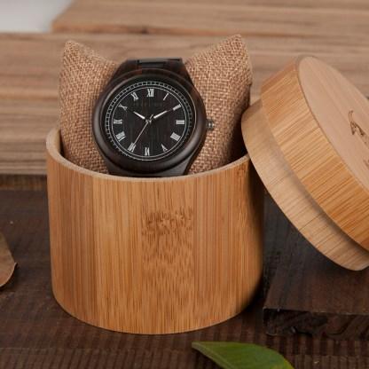 Ceas din lemn Bobo Bird clasic cu curea din lemn negru