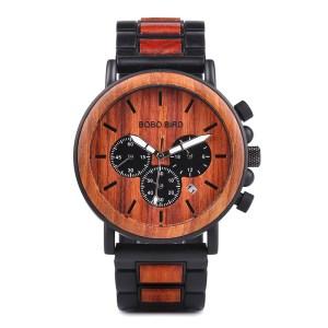 Ceas din lemn Bobo Bird crono cu curea din lemn, maro