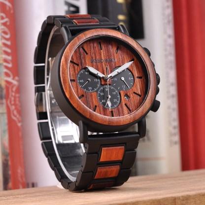 Ceas din lemn Bobo Bird crono cu curea din lemn maro