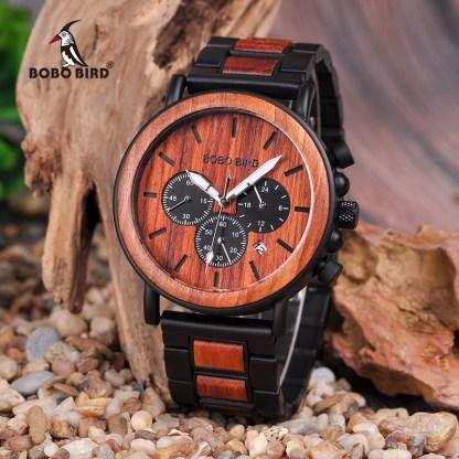 Ceas din lemn Bobo Bird cu curea din lemn, maro