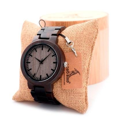 Ceas din lemn de abanos Bobo Bird cu curea din lemn negru
