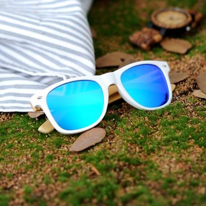 Ochelari de soare Bobo Bird alb cu lentila albastru