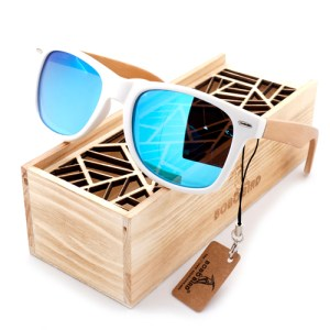 Ochelari de soare Bobo Bird alb, lentila albastru