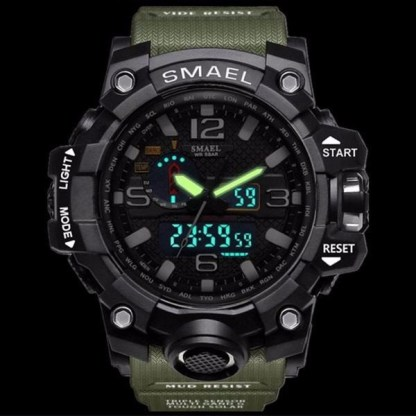 Ceas Shock resist Smael 1545, Dual time, Water resist, Led