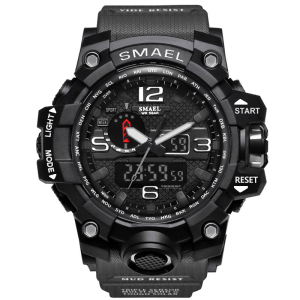 Ceas Shock resist Smael 1545 Gri, Dual time, Water resist