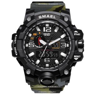 Ceas Shock resist Smael 1545 Verde Camo, Dual time, Water resist
